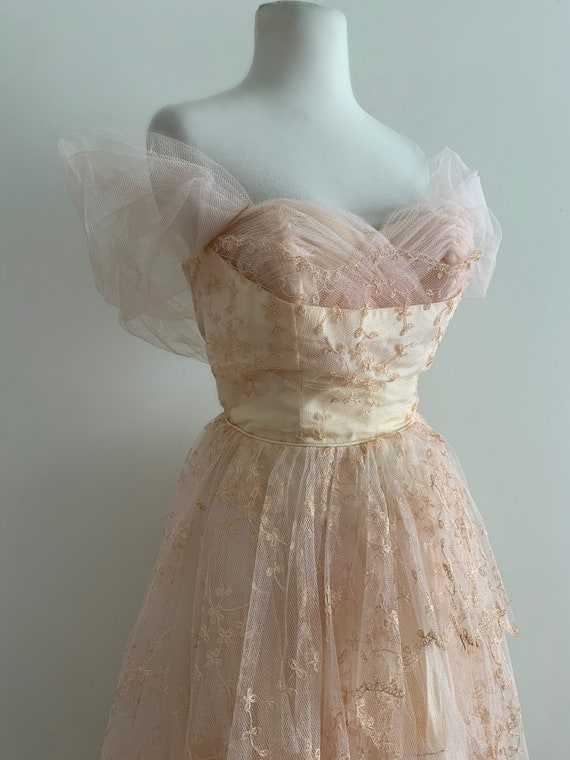 Vintage 1950s Pink Tulle Gown / Vintage 50s Embroi
