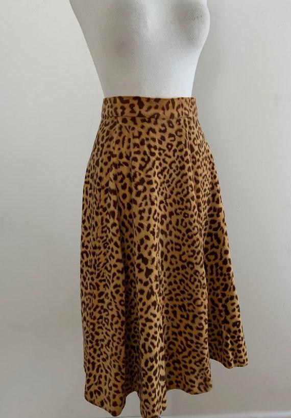 Vintage 1950s Animal Print Velvet Skirt / Vintage