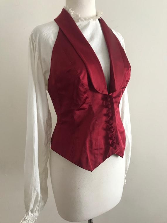 Vintage Ralph Lauren Red Satin Halter Vest / Vinta