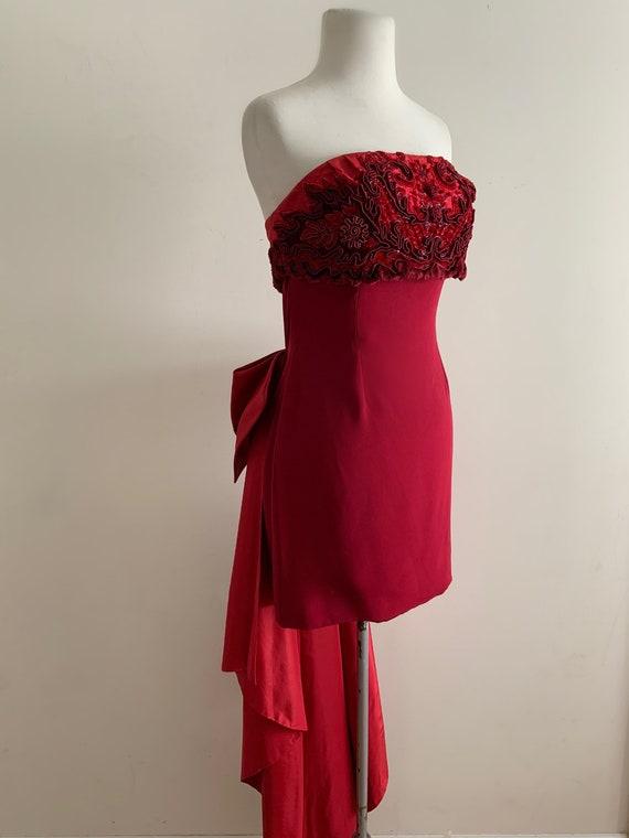 VIntage 1940s 1990s Custom Red Silk Cocktail Dress