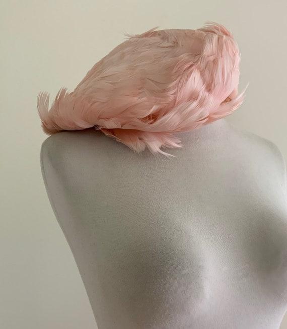 Vintage 1950s Pink Feather Beret / Vintage 50s Pi… - image 1