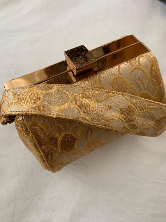 Vintage 1950s Golden Brocade Handbag / Vintage 50s