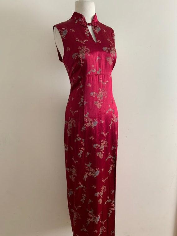 Vintage 1990s Cranberry Satin Cheongsam Dress / Vi