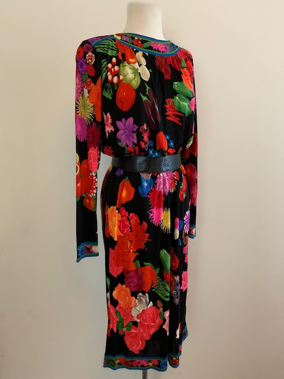 Vintage Leonard Paris Floral + Vegetable Dress / V