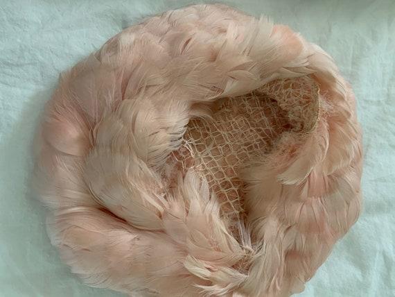 Vintage 1950s Pink Feather Beret / Vintage 50s Pi… - image 3