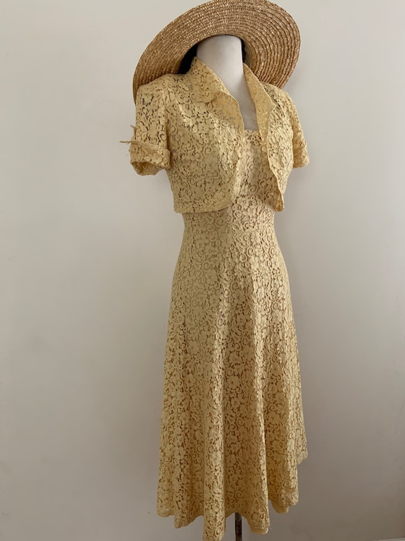 Vintage 1940s Yellow Cotton Lace Dress And  Matchi