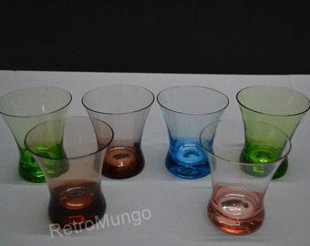 SALE! . 6 lovely colored  glasses   vintage 50's drinking glasses