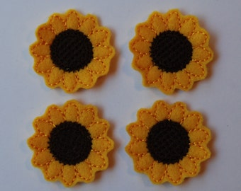 cd70fdb05f5 Set of 4 Sunflower Feltie Felt Embellishments