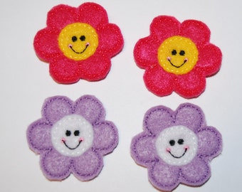 Set of 4 Smiling Flower Feltie Felt Embellishments