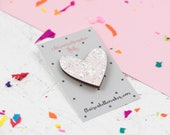 White Glitter Heart Pin, ...