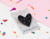 Black Glitter Heart Pin, ...