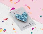 Blue Glitter Heart Pin, G...
