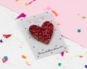 Red Glitter Heart Pin, Gl...