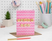 Thank You Card, Pink Than...