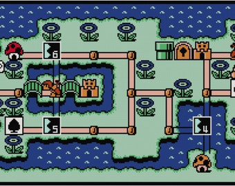 Mario 3 World Map.Super Mario Bros 3 World 1 Map Cross Stitch Pattern Pdf Etsy