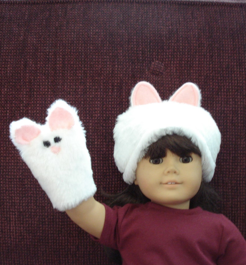81a4d12de022 Faux fur Kitty Cat Hand Puppet and Hat for 18 Doll