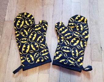 Batman Black Gold Comic Book Oven Mitts - Batman Kitchen - Batman Decoration - Nerdy Geeky Batman Housewarming and Wedding Gift