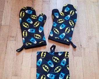 Batman Blue Black Comic Book Oven Mitts - Batman Kitchen - Batman Decoration - Nerdy Geeky Batman Housewarming and Wedding Gift