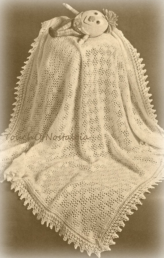 Lacy Baby Shawl Knitting Pattern Beautiful Eyelet Lace Baby Etsy