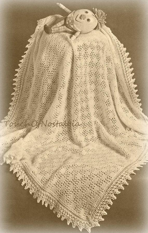 Lacy Baby Shawl Knitting Pattern Beautiful Eyelet Lace Baby Etsy
