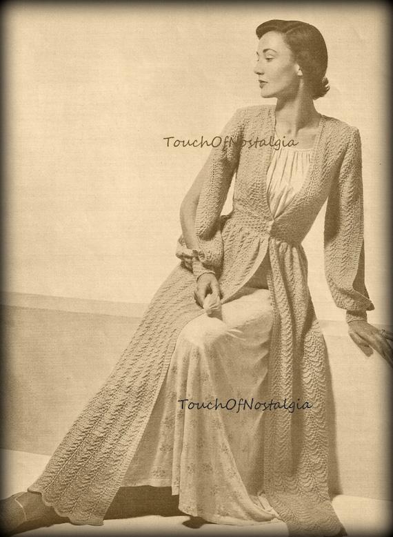 LONG DRESSING GOWN Robe Knitting Pattern Vintage Elegant | Etsy