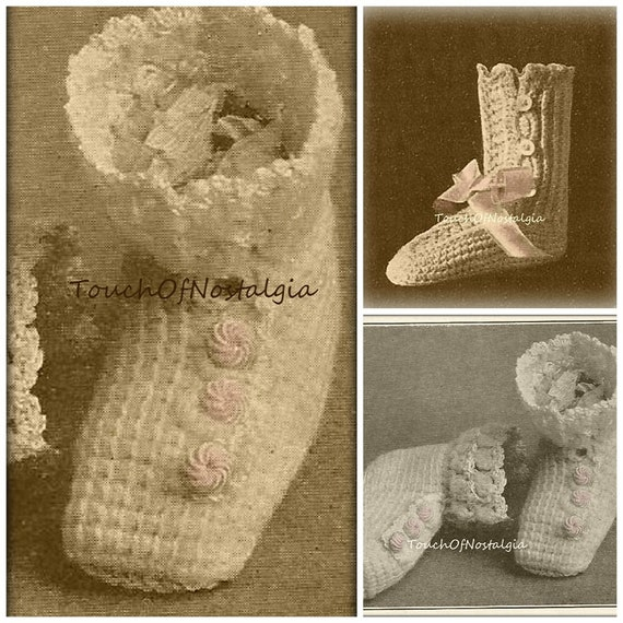 2 Button Up Lace Baby Shoes Booties Antique Crochet Patterns Etsy