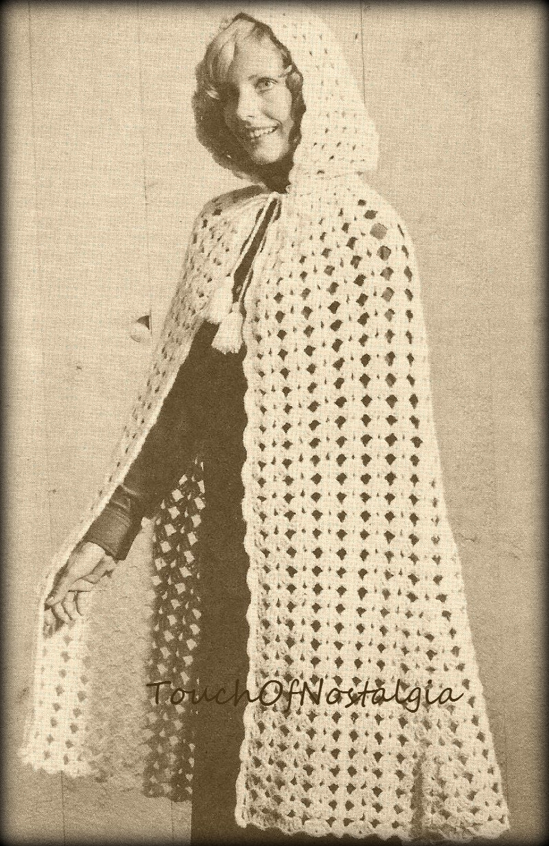Long Cape Hooded Crochet Pattern Vintage Long Cape With Etsy
