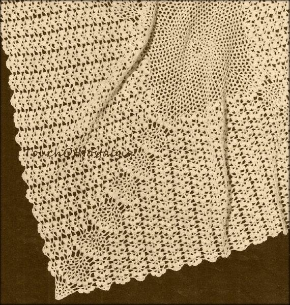 Crochet Lacy Baby Shawl Blanket Vintage Crochet Pattern Etsy