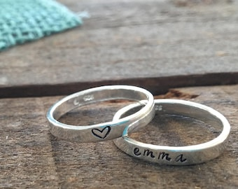 9ed8cceb8b7b75 Sterling Silver Stacking Rings, Mother's Rings, Stackable Hand-stamped  Metal Name Rings, Thumb Rings, Roman Numerals, Heart