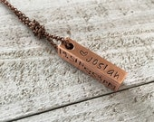 Personalized bar pendant on knotted chain Hand-stamped metal necklace 4 sided bar mother 39 s necklace, birth stats, kids names
