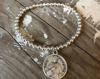 Saint bracelet religious silver saints medal charm bracelets