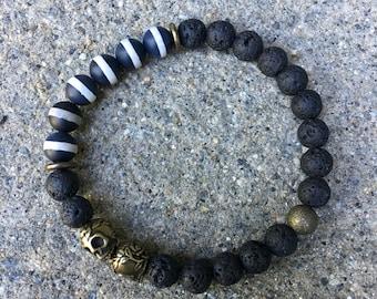 8mm mens skull jewelry lava diffuser bracelet skull bracelets