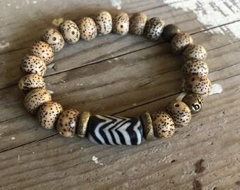 Boho beads bone bracelet Bodhi wood stretch bracelets