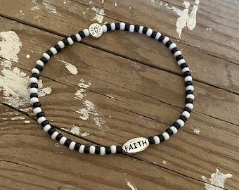 Dainty beaded bracelet inspirational love evil eye faith word bracelets