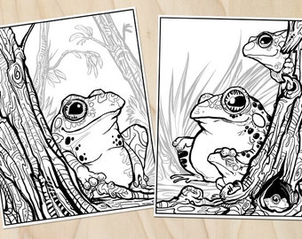 Trees & Toads Coloring Page Set - Download