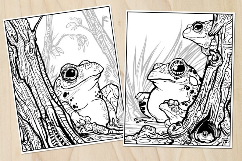 Trees Toads Coloring Page Set Download