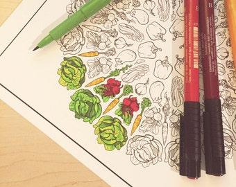 Veggie Wheels Coloring Page Set - Download