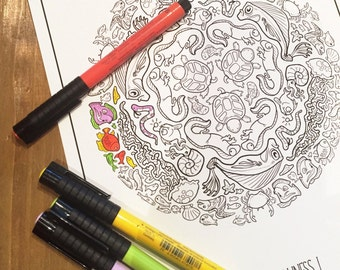 Sea of Silliness Coloring Page Set - Download