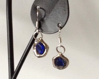Hydro formed Reclaimed Silver Cobat Seaglass Earrings