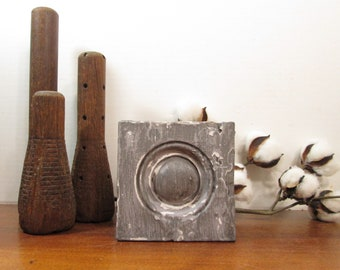 Bullseye Plinth Block, Barn Siding Gray Architectural Salvage