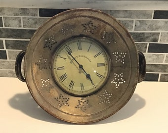 Colander Wall Clock, Farmhouse Kitchen Clock, Battery Operated