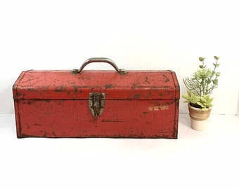 Red Metal Tool Box - Industrial Decor - Farmhouse Style Toolbox
