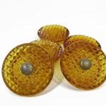 Vintage Glass Knobs, Dresser Pulls, Amber Glass Knobs