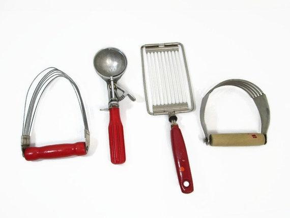 Vintage Red Kitchen Utensils