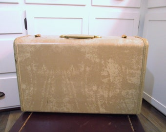 Vintage Suitcase Antique Marble Shwayder Samsonite Luggage Wedding Card Case