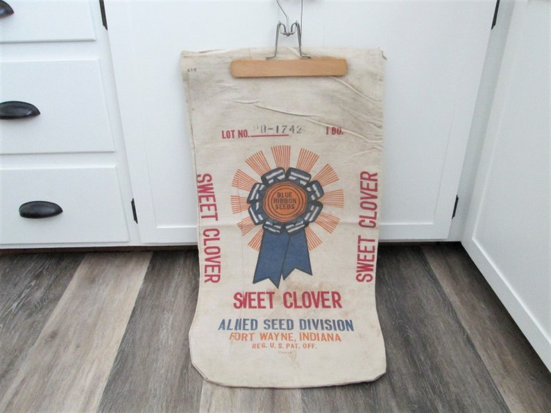 Seed Sack Blue Ribbon Seeds Bag Sweet Clover Canvas image 0