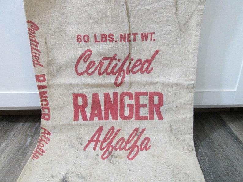 Vintage Seed Sack Ranger Certified Alfalfa Seeds Bag image 0