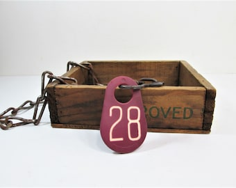 Rustic Cattle Tag, Industrial Number 28 with Neck Chain, Number Twenty Eight Key Chain, Hotel Key, I.D. Tag
