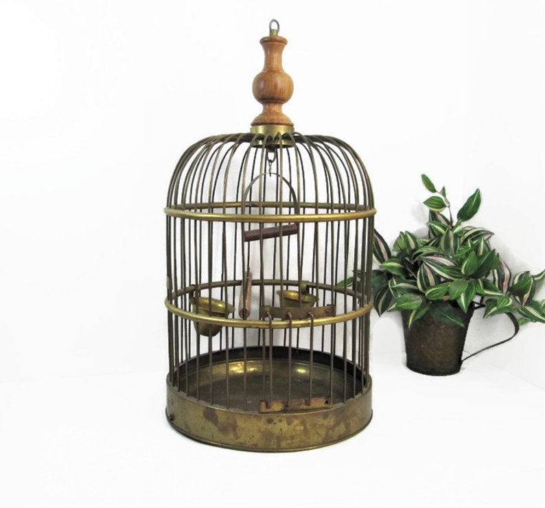 Vintage Brass Bird Cage Hanging Birdcage Boho Decor image 0