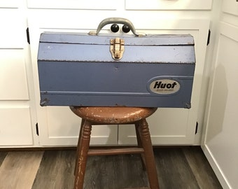 Huot Tool Box with Tray - Blue Metal Toolbox - Industrial Decor - Farmhouse Style